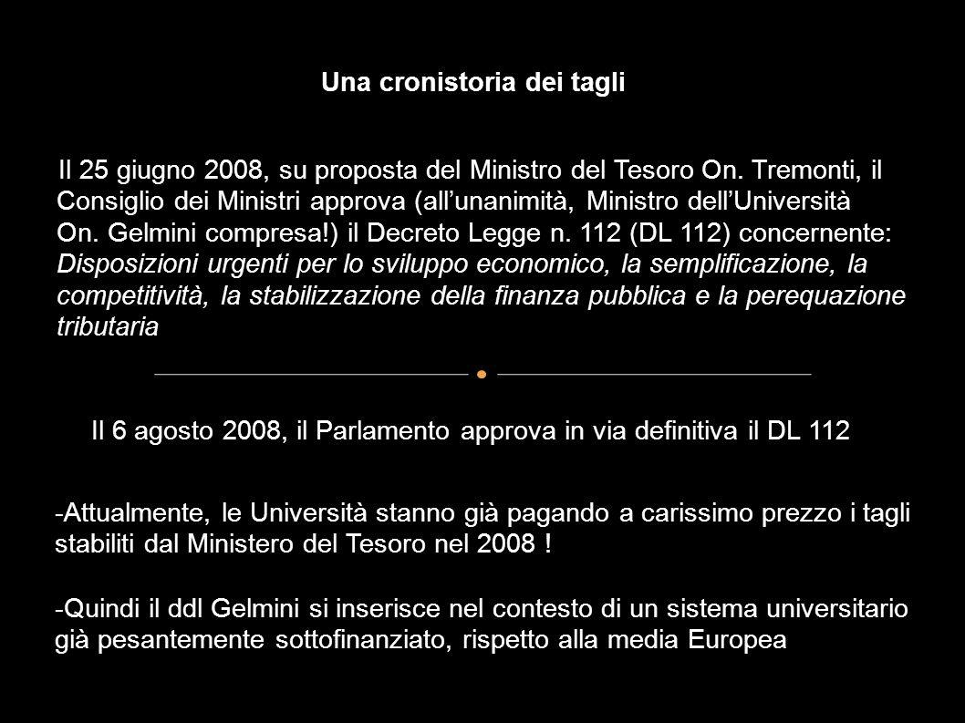 Una cronistoria dei tagli - Il 25 giugno 2008, su proposta del Ministro del Tesoro On. Tremonti, il Consiglio dei Ministri approva (allunanimità, Mini
