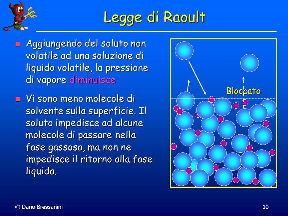 © Dario Bressanini10 Legge di Raoult Aggiungendo del soluto non volatile ad una soluzione di liquido volatile, la pressione di vapore diminuisce Aggiu