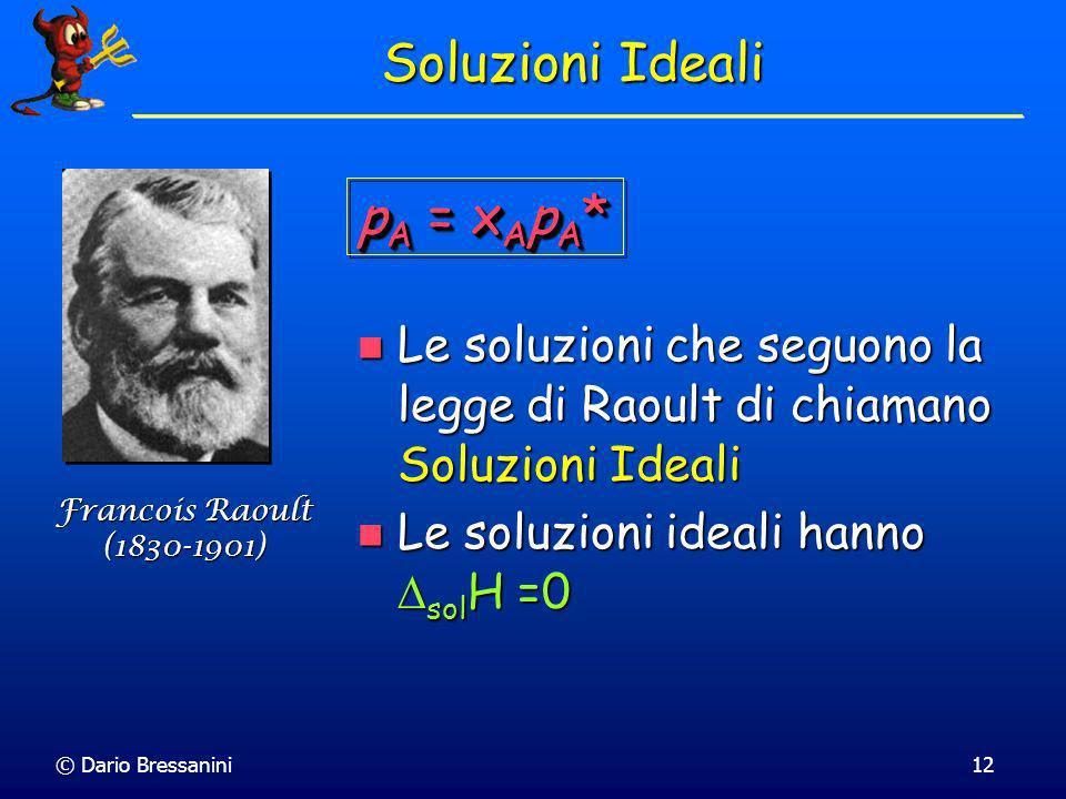 © Dario Bressanini12 Soluzioni Ideali Le soluzioni che seguono la legge di Raoult di chiamano Soluzioni Ideali Le soluzioni che seguono la legge di Ra