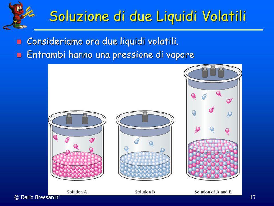 © Dario Bressanini13 Soluzione di due Liquidi Volatili Consideriamo ora due liquidi volatili. Consideriamo ora due liquidi volatili. Entrambi hanno un