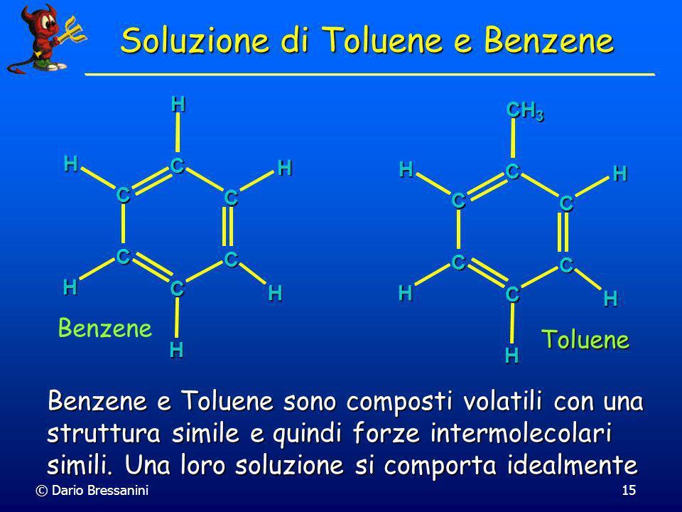 © Dario Bressanini15 Soluzione di Toluene e Benzene C C C C C C H HHH H H Benzene Toluene C C C C C C H H CH 3 H H H Benzene e Toluene sono composti v