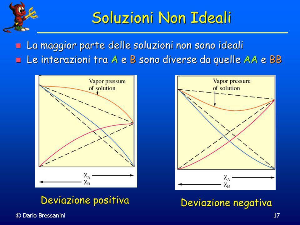 © Dario Bressanini17 Soluzioni Non Ideali La maggior parte delle soluzioni non sono ideali La maggior parte delle soluzioni non sono ideali Le interaz