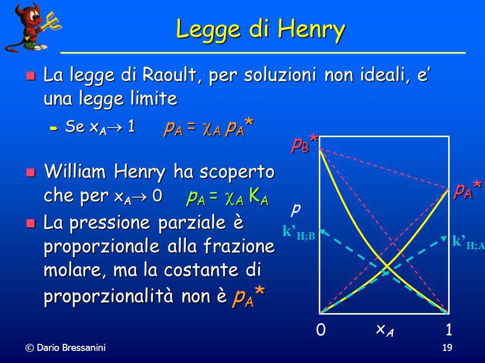 © Dario Bressanini19 Legge di Henry La legge di Raoult, per soluzioni non ideali, e una legge limite La legge di Raoult, per soluzioni non ideali, e u