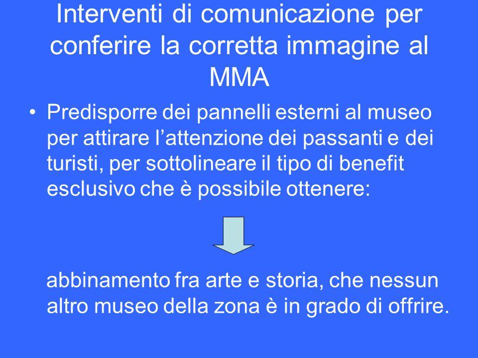 Interventi di comunicazione per conferire la corretta immagine al MMA Predisporre dei pannelli esterni al museo per attirare lattenzione dei passanti