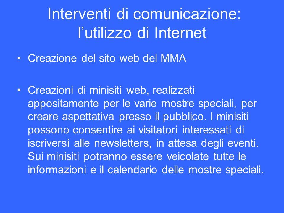 Interventi di comunicazione: lutilizzo di Internet Creazione del sito web del MMA Creazioni di minisiti web, realizzati appositamente per le varie mos