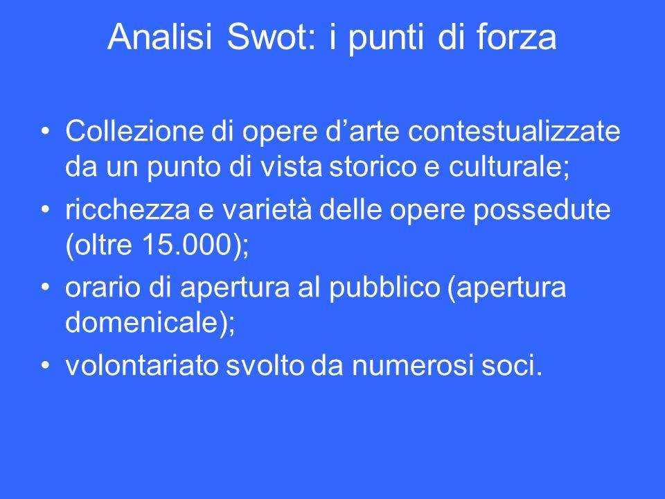 Analisi Swot: i punti di forza Collezione di opere darte contestualizzate da un punto di vista storico e culturale; ricchezza e varietà delle opere po