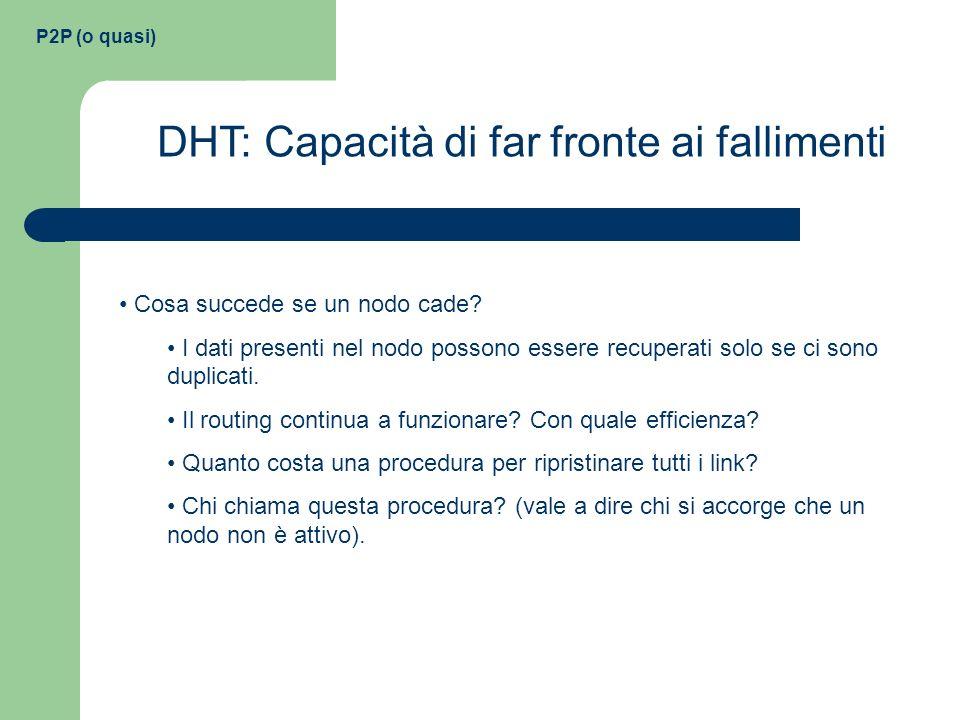 P2P (o quasi) DHT: Capacità di far fronte ai fallimenti Cosa succede se un nodo cade? I dati presenti nel nodo possono essere recuperati solo se ci so