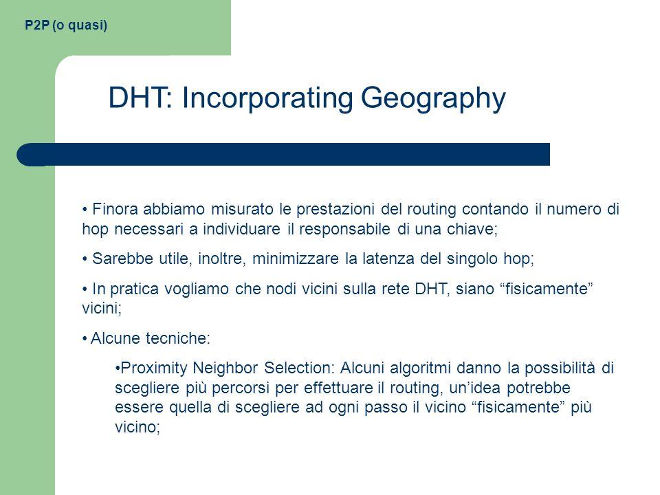 P2P (o quasi) DHT: Incorporating Geography Finora abbiamo misurato le prestazioni del routing contando il numero di hop necessari a individuare il res