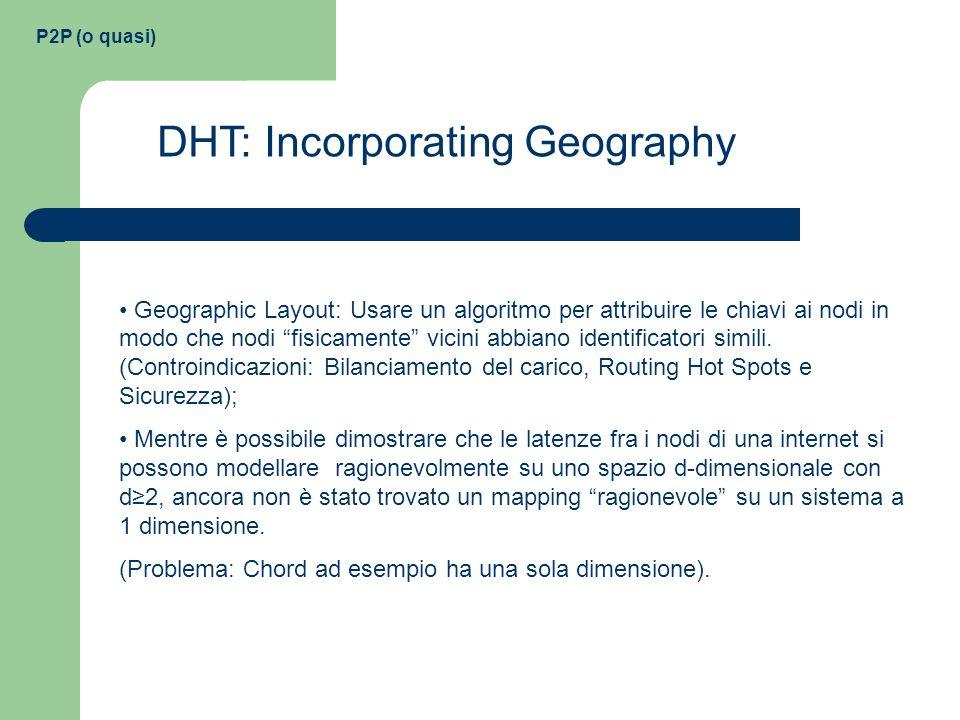 P2P (o quasi) DHT: Incorporating Geography Geographic Layout: Usare un algoritmo per attribuire le chiavi ai nodi in modo che nodi fisicamente vicini
