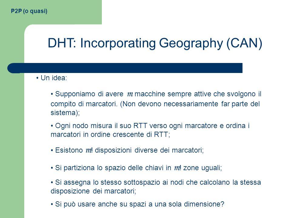 P2P (o quasi) DHT: Incorporating Geography (CAN) Un idea: Supponiamo di avere m macchine sempre attive che svolgono il compito di marcatori. (Non devo