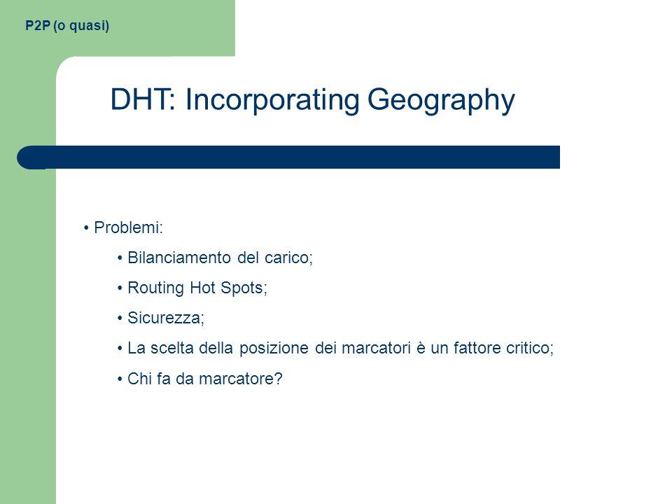 P2P (o quasi) DHT: Incorporating Geography Problemi: Bilanciamento del carico; Routing Hot Spots; Sicurezza; La scelta della posizione dei marcatori è