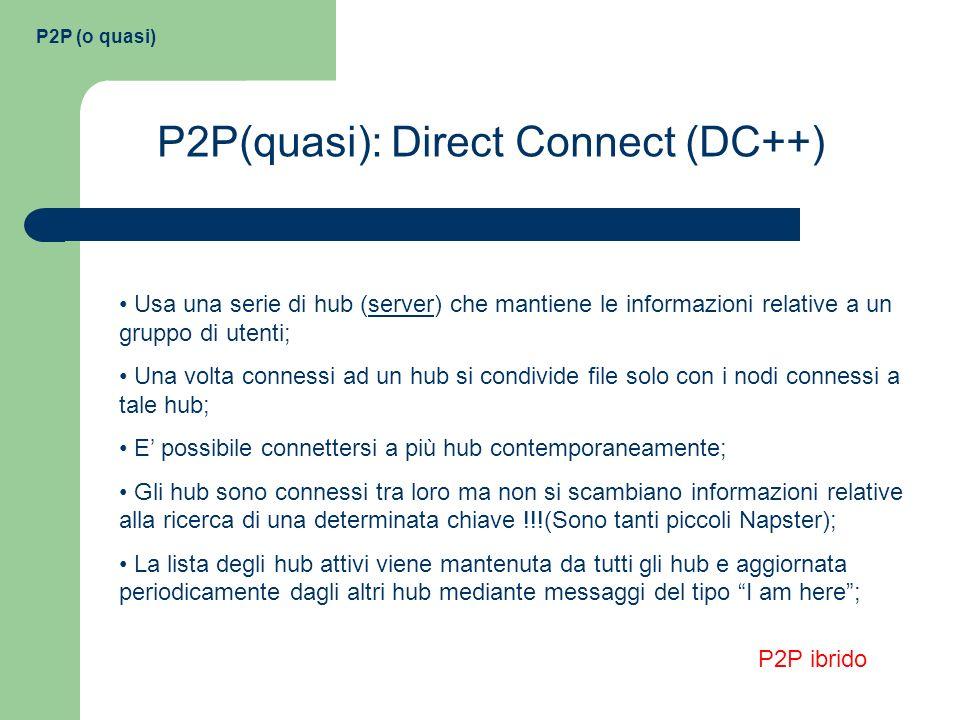 P2P (o quasi) P2P(quasi): Direct Connect (DC++) Usa una serie di hub (server) che mantiene le informazioni relative a un gruppo di utenti; Una volta c