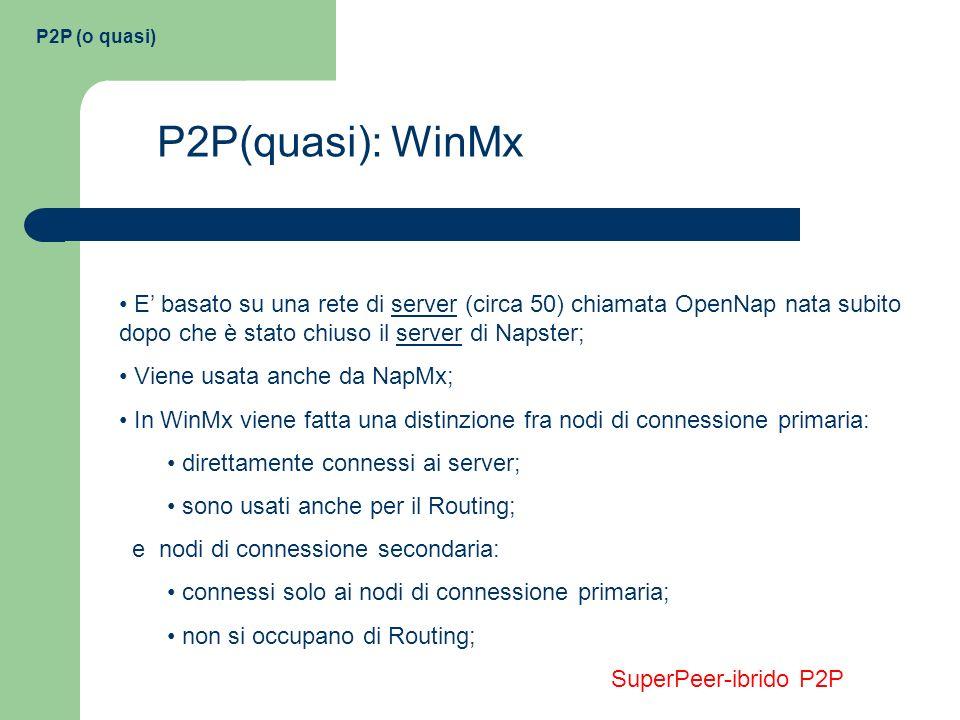 P2P (o quasi) P2P(quasi): WinMx E basato su una rete di server (circa 50) chiamata OpenNap nata subito dopo che è stato chiuso il server di Napster; V