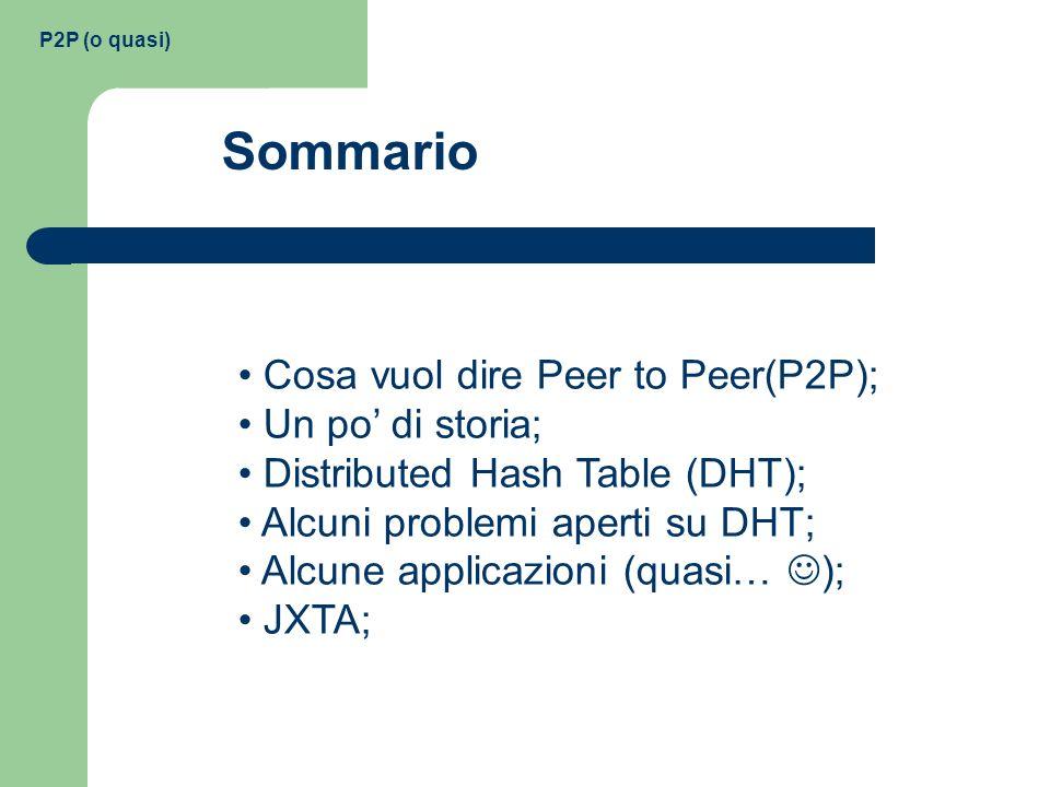 Cosa vuol dire Peer to Peer(P2P); Un po di storia; Distributed Hash Table (DHT); Alcuni problemi aperti su DHT; Alcune applicazioni (quasi… ); JXTA; S