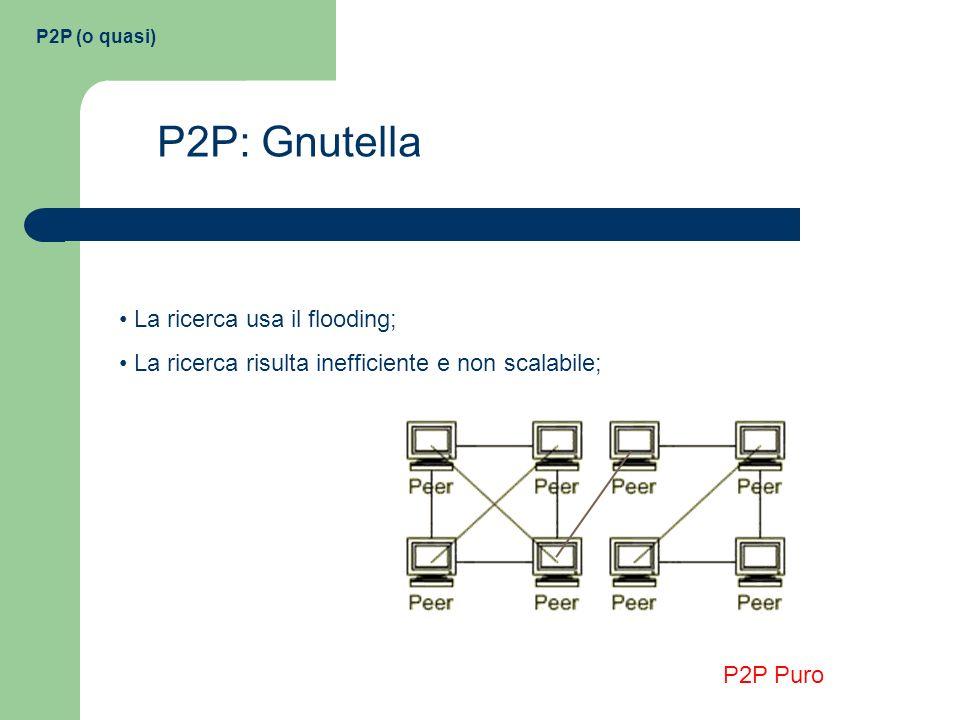 P2P (o quasi) P2P: Gnutella La ricerca usa il flooding; La ricerca risulta inefficiente e non scalabile; P2P Puro