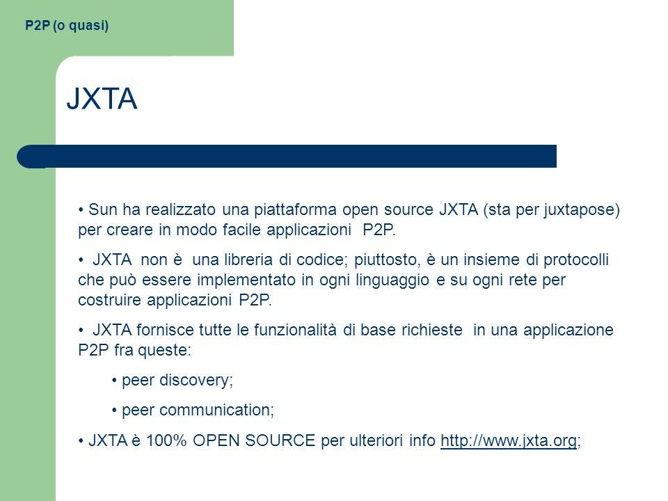 P2P (o quasi) JXTA Sun ha realizzato una piattaforma open source JXTA (sta per juxtapose) per creare in modo facile applicazioni P2P. JXTA non è una l