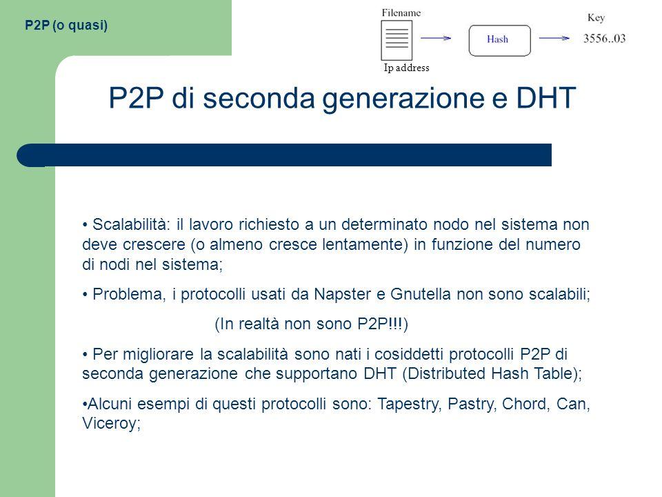 P2P (o quasi) P2P di seconda generazione e DHT Scalabilità: il lavoro richiesto a un determinato nodo nel sistema non deve crescere (o almeno cresce l