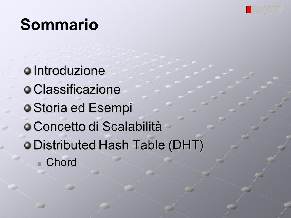 Scalabilità Il lavoro richiesto a un determinato nodo nel sistema non deve crescere (o almeno cresce lentamente) in funzione del numero di nodi nel sistema; I protocolli usati da Napster e Gnutella non sono scalabili; Per migliorare la scalabilità sono nati i cosiddetti protocolli P2P di seconda generazione che supportano DHT (Distributed Hash Table); Alcuni esempi di questi protocolli sono: Tapestry, Chord, Can, Viceroy, Koorde, kademlia,kelips …;