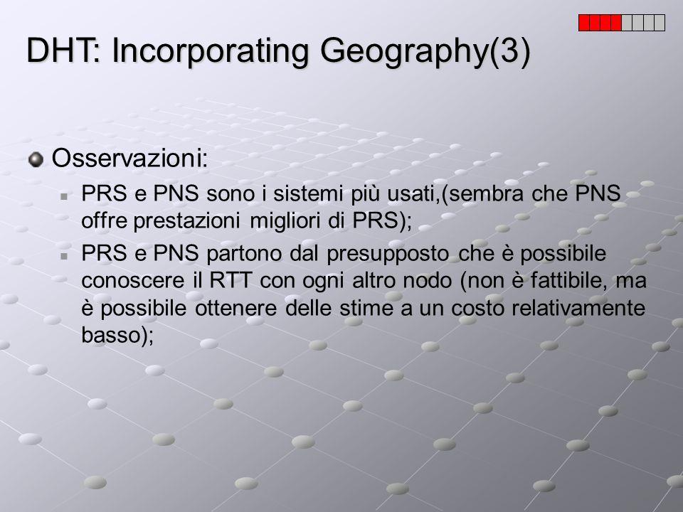 DHT: Incorporating Geography(3) Osservazioni: PRS e PNS sono i sistemi più usati,(sembra che PNS offre prestazioni migliori di PRS); PRS e PNS partono