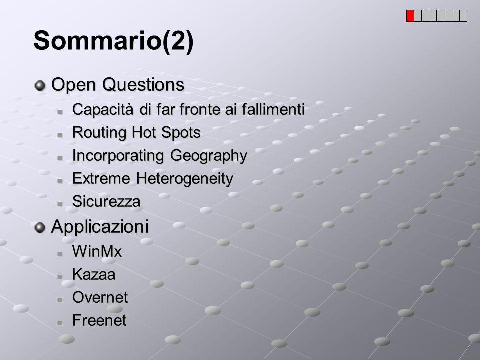 Scalabilità(2) La scalabilità di un protocollo è direttamente legata allefficienza dellalgoritmo usato per il routing (lookup); In questo senso, sostanzialmente gli obiettivi sono due: Minimizzare il numero di messaggi necessari per fare lookup; Minimizzare, per ogni nodo, le informazioni relative agli altri nodi; I vari DHT conosciuti differiscono proprio nel routing; Dimensione tabella di routing Messaggi necessari per trovare una chiave 1 1 n -1 O(log n) Chord e altri Grafo Totalmente connesso Anello n è il numero dei peer;