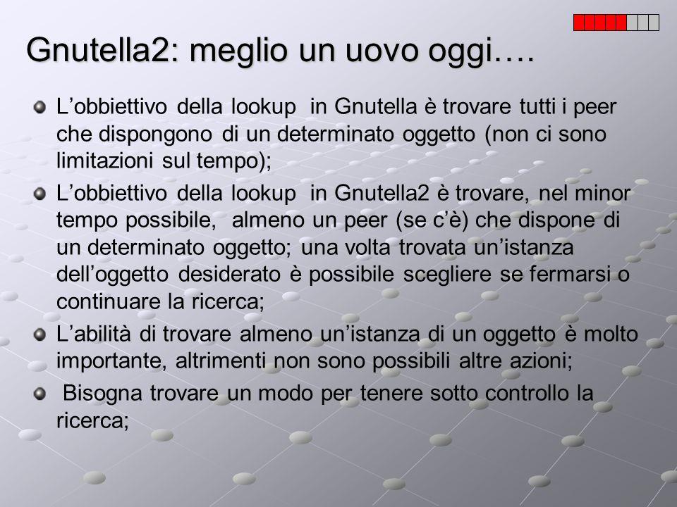 Gnutella2: meglio un uovo oggi…. Lobbiettivo della lookup in Gnutella è trovare tutti i peer che dispongono di un determinato oggetto (non ci sono lim