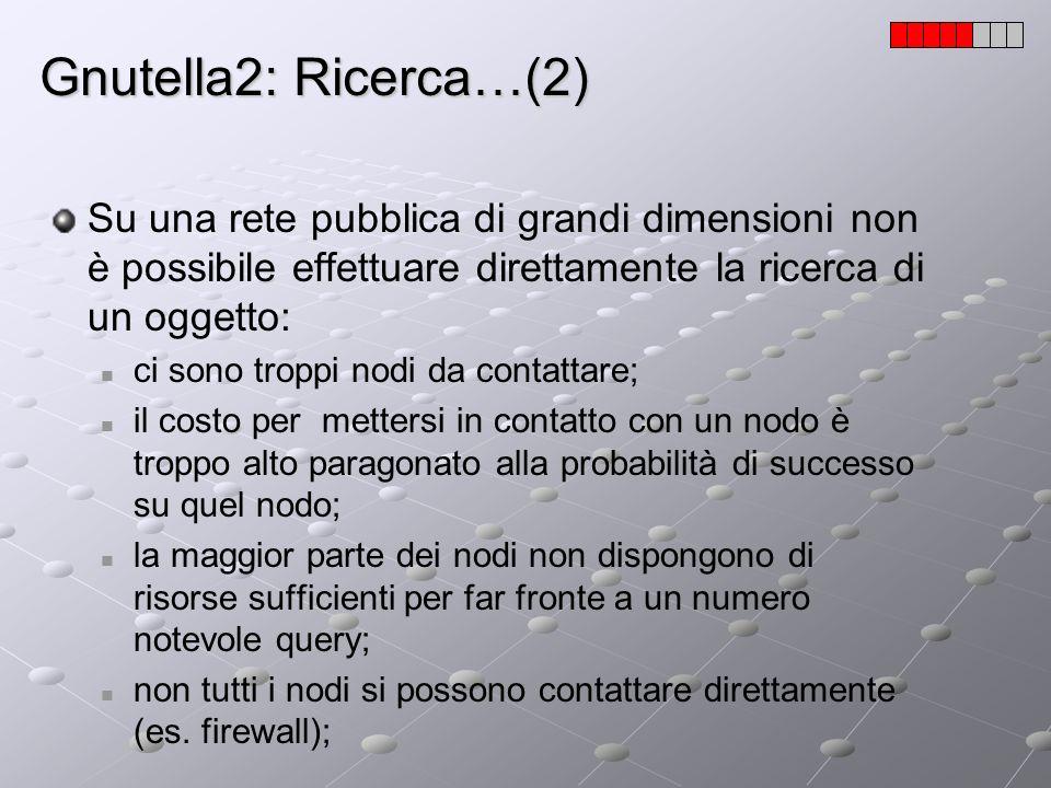 Gnutella2: Ricerca…(2) Su una rete pubblica di grandi dimensioni non è possibile effettuare direttamente la ricerca di un oggetto: ci sono troppi nodi