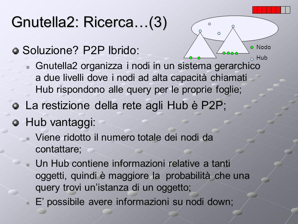 Gnutella2: Ricerca…(3) Soluzione? P2P Ibrido: Gnutella2 organizza i nodi in un sistema gerarchico a due livelli dove i nodi ad alta capacità chiamati