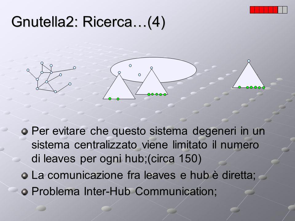 Gnutella2: Ricerca…(4) Per evitare che questo sistema degeneri in un sistema centralizzato viene limitato il numero di leaves per ogni hub;(circa 150)
