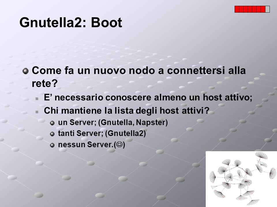 Gnutella2: Boot Come fa un nuovo nodo a connettersi alla rete? E necessario conoscere almeno un host attivo; Chi mantiene la lista degli host attivi?