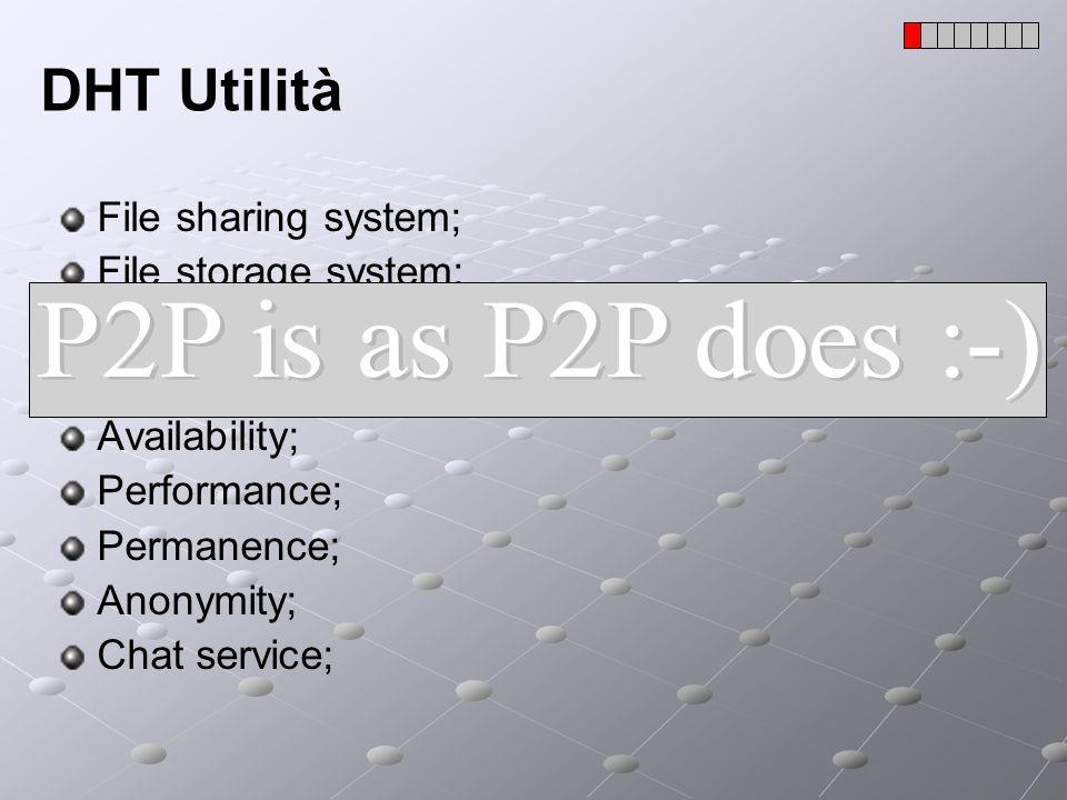 P2P: Classificazione Le applicazioni P2P sono costituite da tre fasi principali: Boot: permette a un peer di trovare la rete e di connettersi ad essa; (nessuno o quasi fa boot P2P) Lookup: permette ad un peer di trovare il gestore/responsabile di una determinata informazione; (pochi sono P2P, alcuni usano SuperPeer) Scambio di file; (sono tutti P2P)