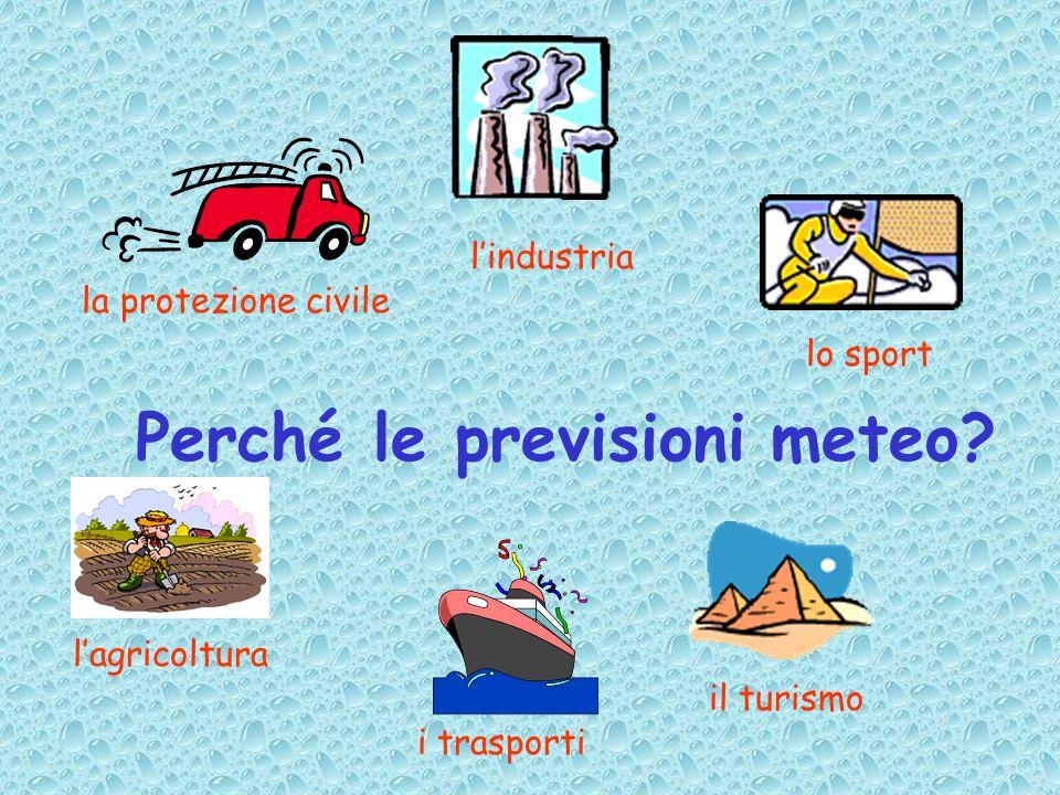 Perché le previsioni meteo? lindustria la protezione civile lo sport i trasporti il turismo lagricoltura