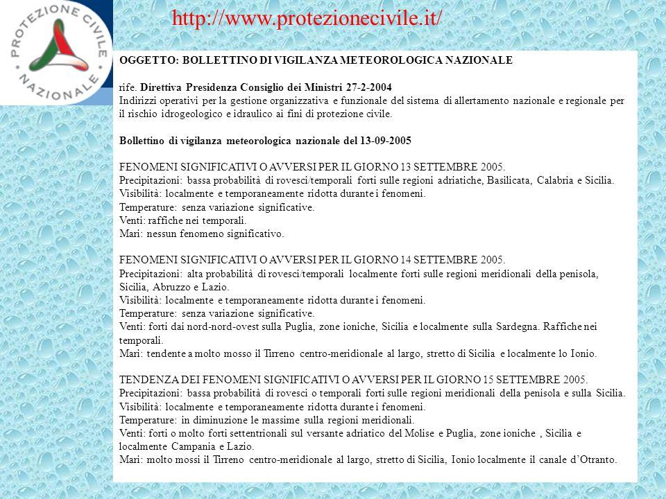OGGETTO: BOLLETTINO DI VIGILANZA METEOROLOGICA NAZIONALE rife. Direttiva Presidenza Consiglio dei Ministri 27-2-2004 Indirizzi operativi per la gestio