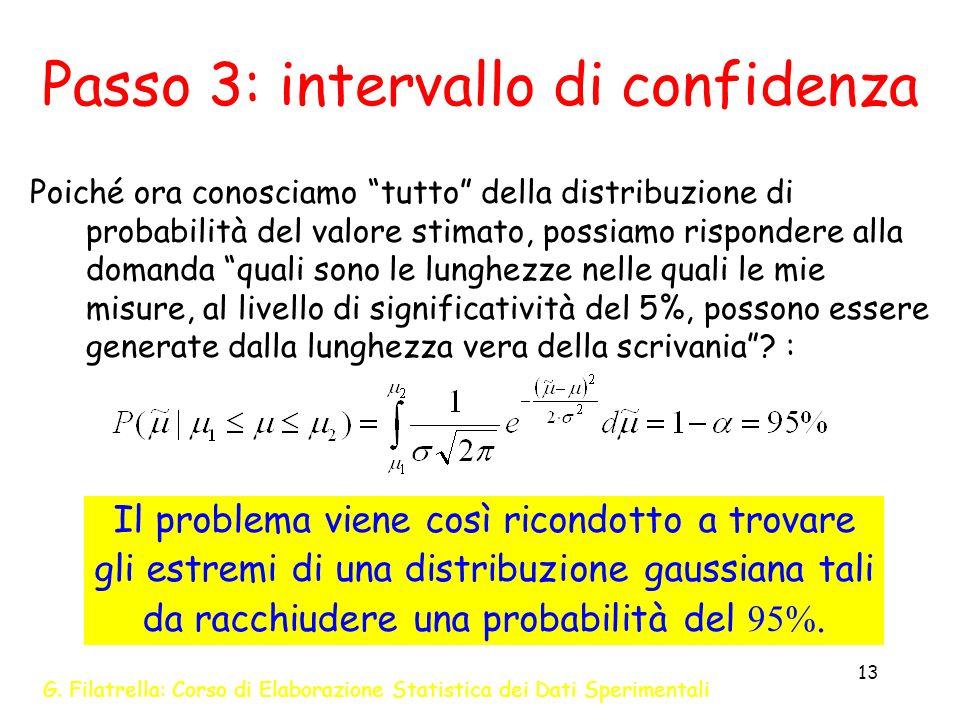 G. Filatrella: Corso di Elaborazione Statistica dei Dati Sperimentali 13 Passo 3: intervallo di confidenza Poiché ora conosciamo tutto della distribuz