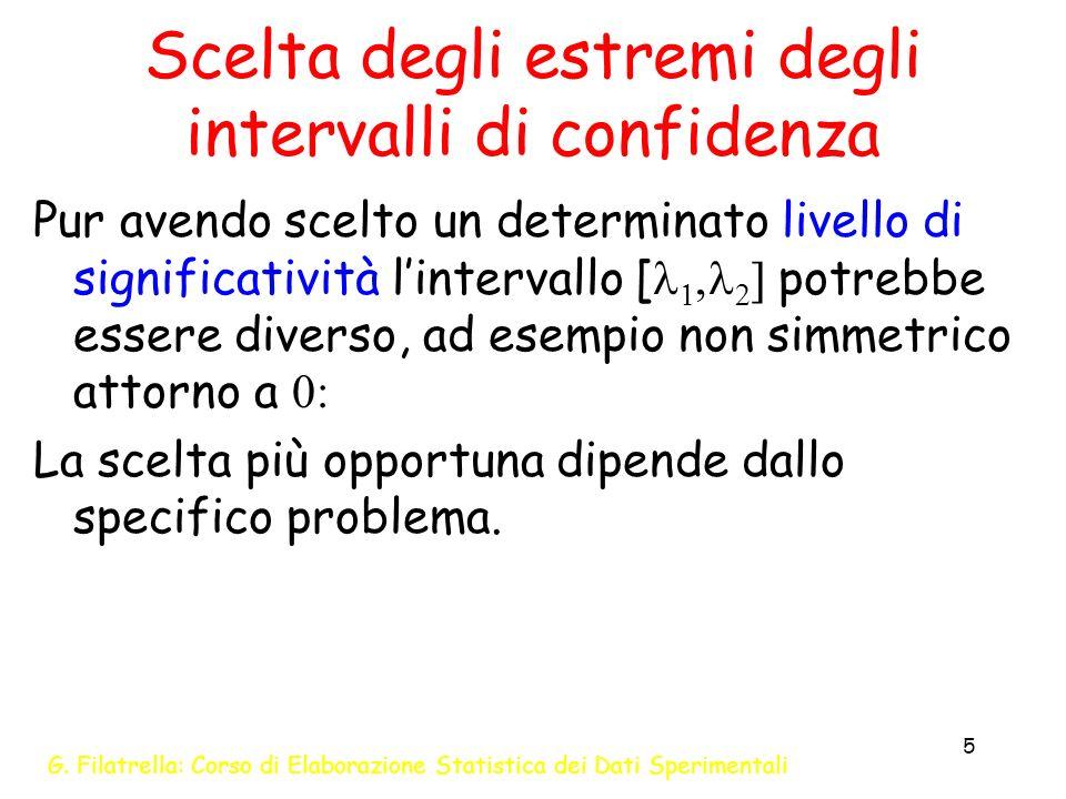 G. Filatrella: Corso di Elaborazione Statistica dei Dati Sperimentali 5 Scelta degli estremi degli intervalli di confidenza Pur avendo scelto un deter