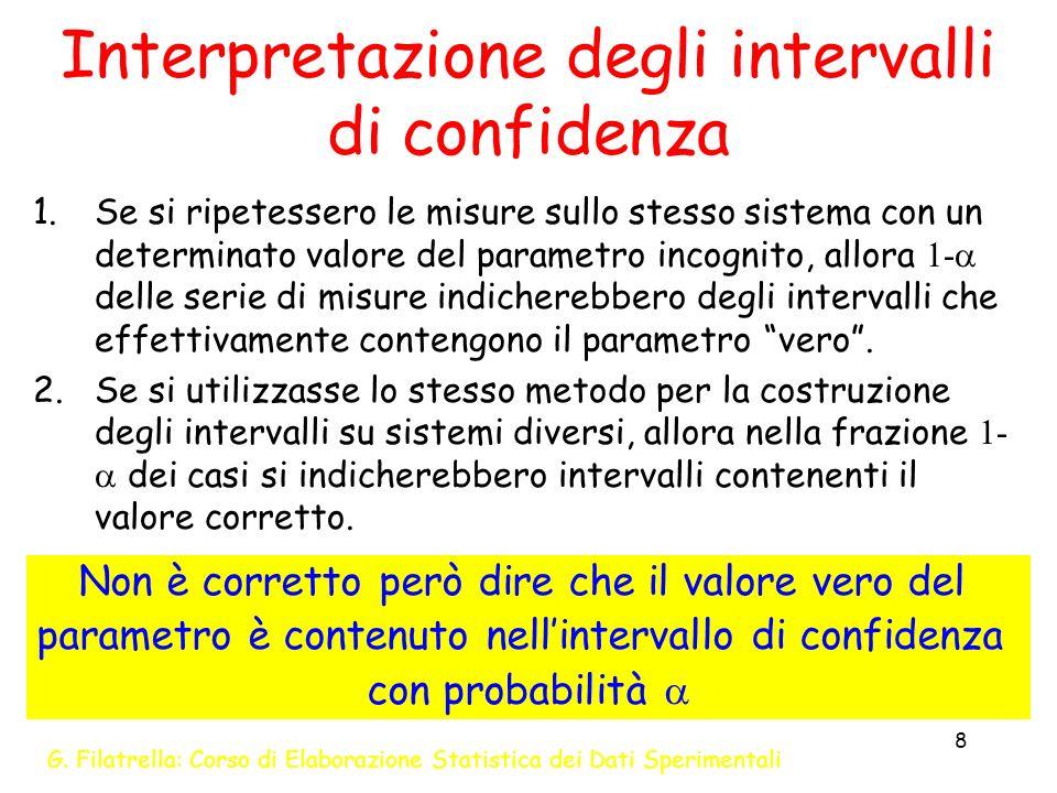 G. Filatrella: Corso di Elaborazione Statistica dei Dati Sperimentali 8 Interpretazione degli intervalli di confidenza 1.Se si ripetessero le misure s