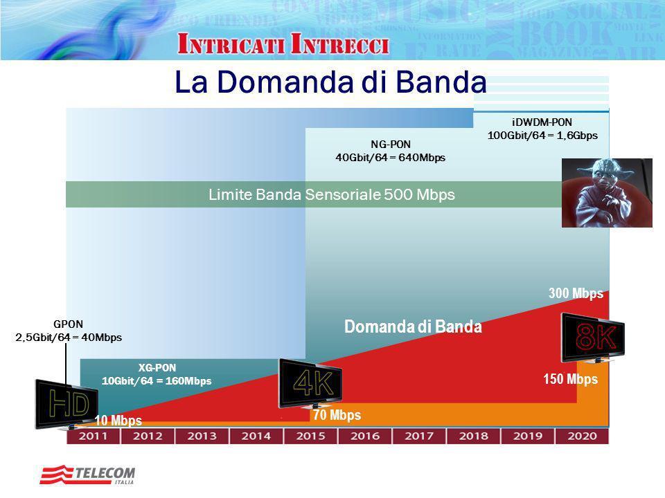 Rotary, Padova – 20 gennaio 2010 Futuro ICT La Domanda di Banda Occhi 8*2 Mpixels -> 100-200 Mbps Olfatto -> 40 kbps Udito -> 400 kbps Occhi+cervello