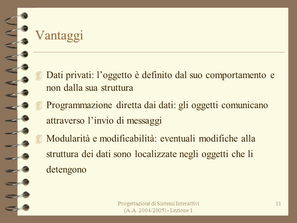 Progettazione di Sistemi Interattivi (A.A. 2004/2005) - Lezione 1 11 Vantaggi Dati privati: loggetto è definito dal suo comportamento e non dalla sua