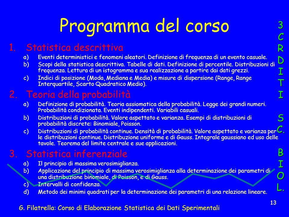 G. Filatrella: Corso di Elaborazione Statistica dei Dati Sperimentali 13 Programma del corso 1.Statistica descrittiva a)Eventi deterministici e fenome