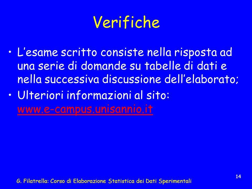 G. Filatrella: Corso di Elaborazione Statistica dei Dati Sperimentali 14 Verifiche Lesame scritto consiste nella risposta ad una serie di domande su t