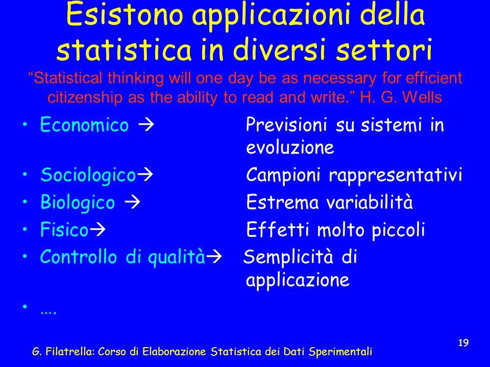 G. Filatrella: Corso di Elaborazione Statistica dei Dati Sperimentali 19 Esistono applicazioni della statistica in diversi settori Statistical thinkin