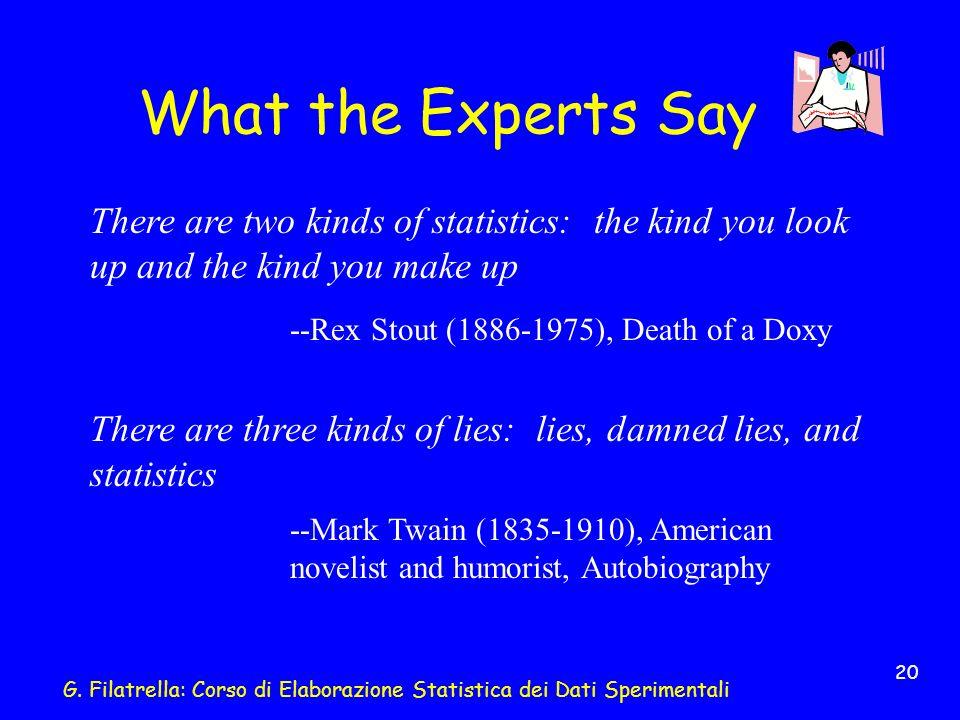 G. Filatrella: Corso di Elaborazione Statistica dei Dati Sperimentali 20 What the Experts Say There are two kinds of statistics: the kind you look up