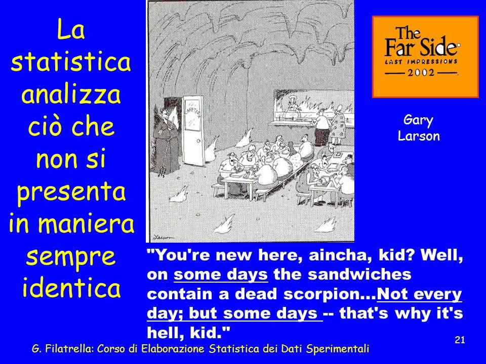 G. Filatrella: Corso di Elaborazione Statistica dei Dati Sperimentali 21 La statistica analizza ciò che non si presenta in maniera sempre identica