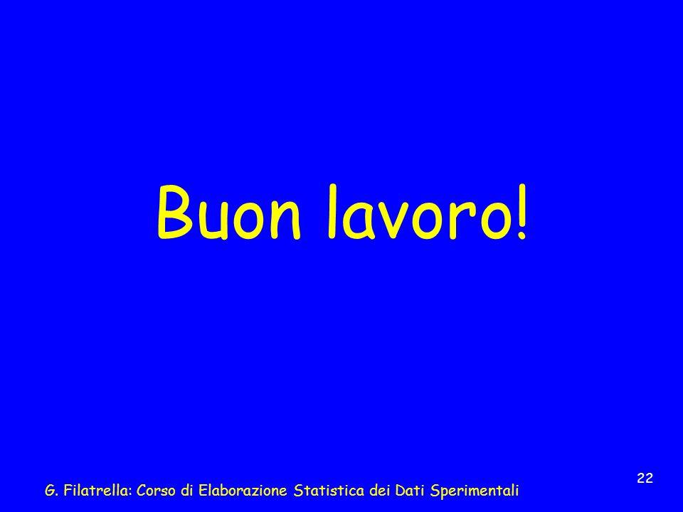 G. Filatrella: Corso di Elaborazione Statistica dei Dati Sperimentali 22 Buon lavoro!