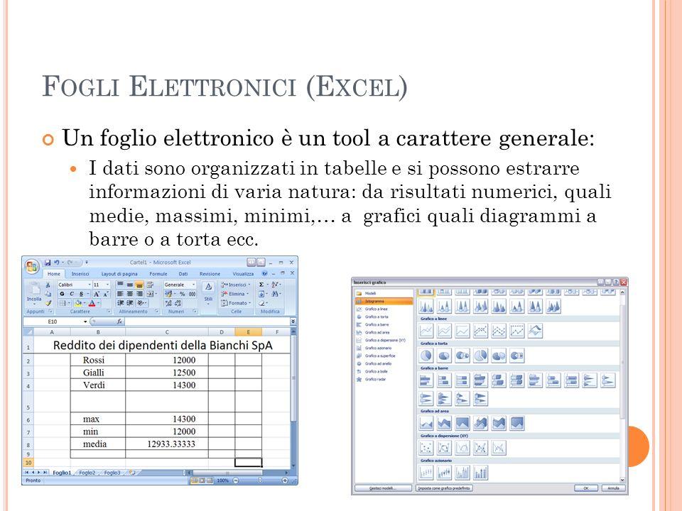 F OGLI E LETTRONICI (E XCEL ) Un foglio elettronico è un tool a carattere generale: I dati sono organizzati in tabelle e si possono estrarre informazi