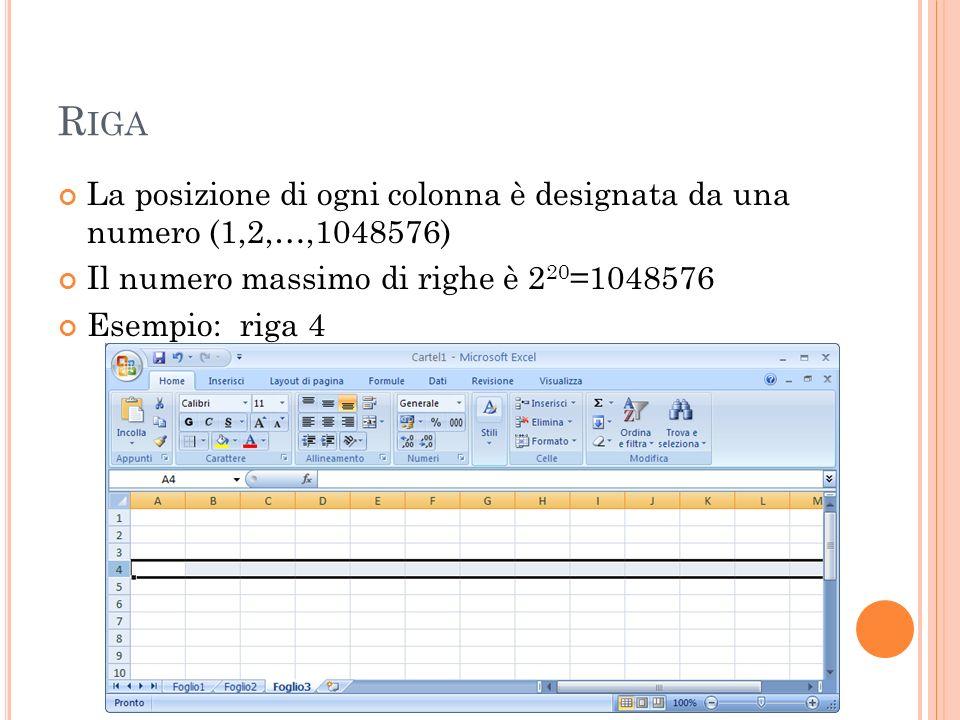 R IGA La posizione di ogni colonna è designata da una numero (1,2,…,1048576) Il numero massimo di righe è 2 20 =1048576 Esempio: riga 4