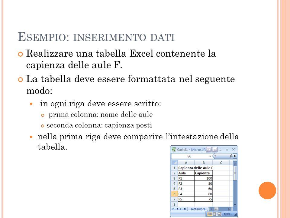 E SEMPIO : INSERIMENTO DATI Realizzare una tabella Excel contenente la capienza delle aule F. La tabella deve essere formattata nel seguente modo: in