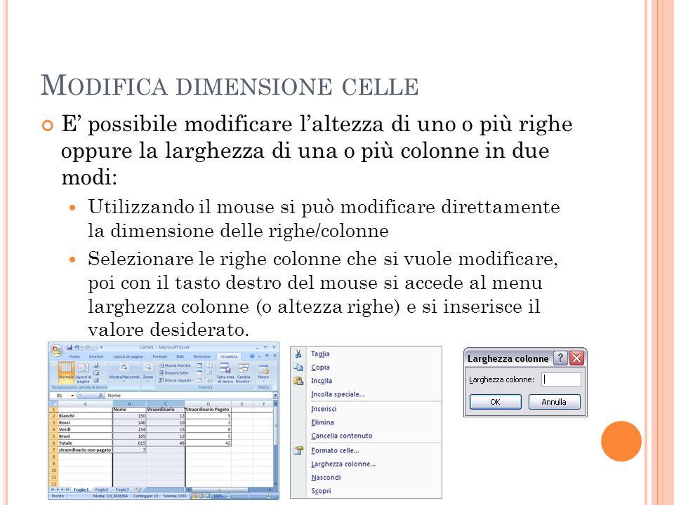 M ODIFICA DIMENSIONE CELLE E possibile modificare laltezza di uno o più righe oppure la larghezza di una o più colonne in due modi: Utilizzando il mou