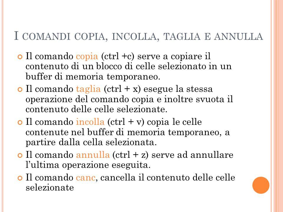 I COMANDI COPIA, INCOLLA, TAGLIA E ANNULLA Il comando copia (ctrl +c) serve a copiare il contenuto di un blocco di celle selezionato in un buffer di m