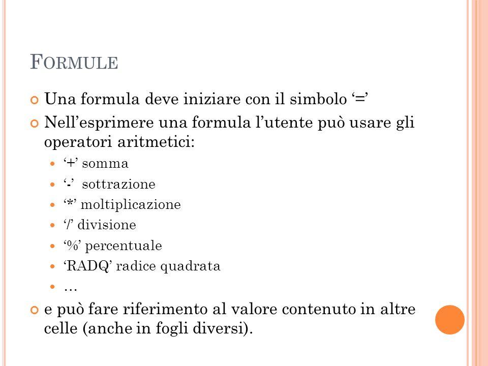 F ORMULE Una formula deve iniziare con il simbolo = Nellesprimere una formula lutente può usare gli operatori aritmetici: + somma - sottrazione * molt