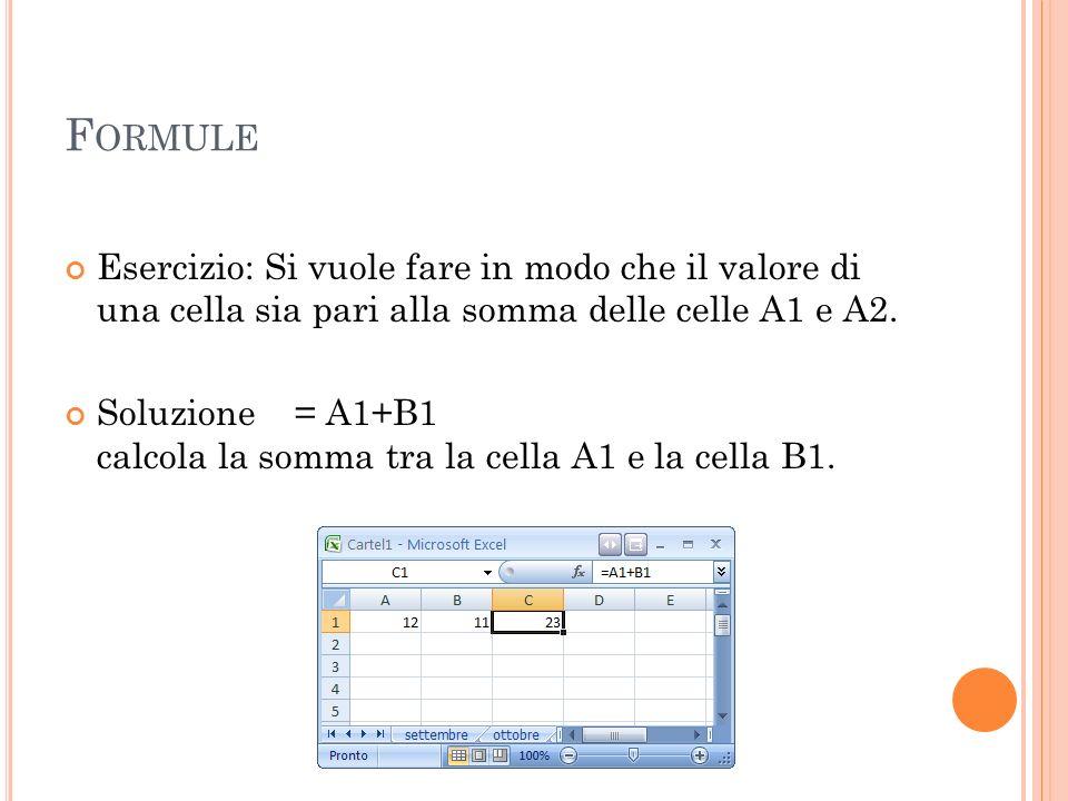 F ORMULE Esercizio: Si vuole fare in modo che il valore di una cella sia pari alla somma delle celle A1 e A2. Soluzione = A1+B1 calcola la somma tra l